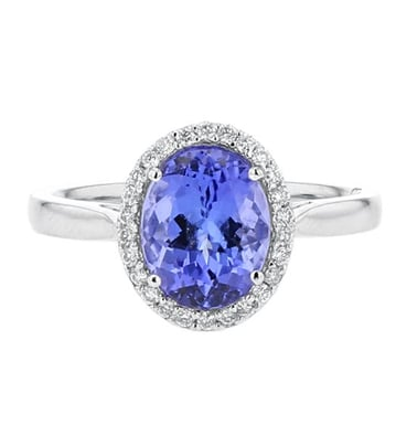 Tanzanite and Diamond Halo Ring, 14K White Gold, .13CT
