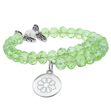Embrace the Difference® Green Glass and Pearl Wrap Bracelet with Butterfly Charm