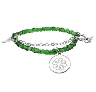 Embrace the Difference® Green Seed Bead with Bird Charm Stretch Bracelet