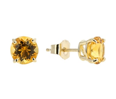 Citrine Stud Earrings, 6MM Round, 14K Yellow Gold