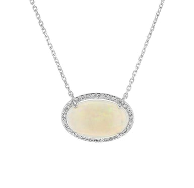 Opal and Diamond Oval Halo Pendant Necklace, 14K White Gold, 3.18CT