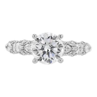 "Scott Kay ""Luminaire"" Diamond Engagement Ring Setting, Marquise and Round Diamond Accents, 14K White Gold, .50CT"