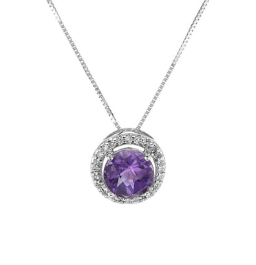 Amethyst and Diamond Halo Pendant Necklace, 14K White gold, .11CTW