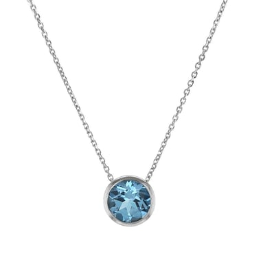 Blue Topaz Pendant Necklace, Round, Bezel Set, 14K White Gold, 10MM