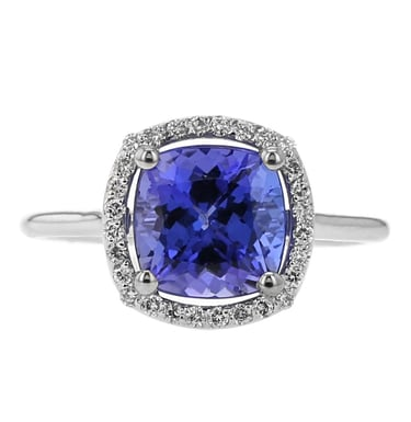 Tanzanite and Diamond Halo Ring, 14K White Gold, 2.44CT, .15TDW