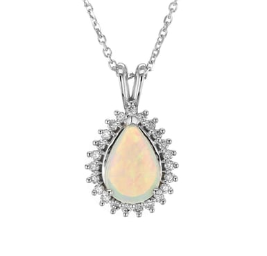 Opal and Diamond Teardrop Halo Pendant Necklace, 14K White Gold, .99CT, .24DTW