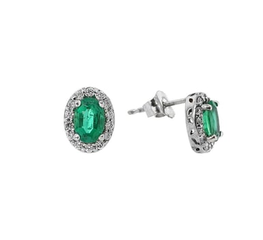 Emerald and Diamond Stud Earrings, Oval Halo, 14K White Gold, .21TDW