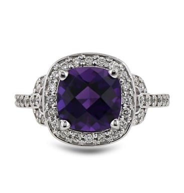Amethyst and Diamond Ring, 10.5MM Cushion, Diamond Frame and Shoulders, 14K White Gold, .29CT Diamonds