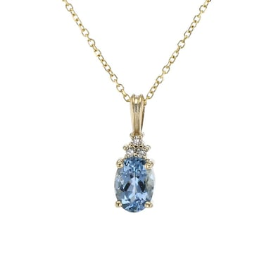 Aquamarine and Diamond Accented Pendant Necklace, 14K Yellow Gold, .03CT