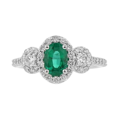 Emerald and DIamond Side Stone Halo Ring, Oval, 14K White Gold, .63TDW