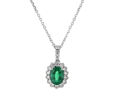 Emerald and Diamond Floral Halo Pendant Necklace, Oval, 14K White Gold, .24DTW