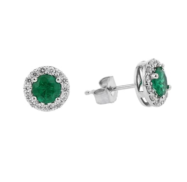 Emerald and Diamond Stud Earrings, 10MM Round,14K White Gold, .34CT