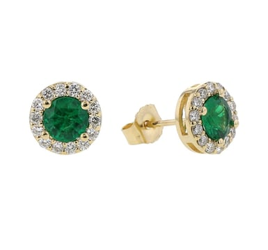 Emerald and Diamond Halo Stud Earrings, 8MM Round, 14K Yellow Gold, .34CT