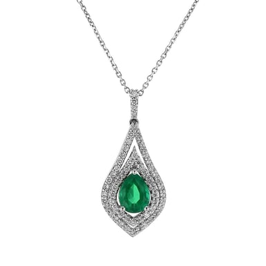 Emerald and Diamond Double Halo Teardrop Pendant Necklace, 14K White Gold, 1.13CT, .44DTW