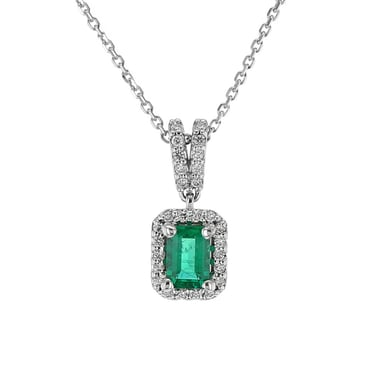 Emerald and Diamond Halo Frame Pendant Necklace, 14K White Gold, .17DTW