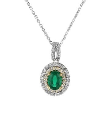 Emerald and Diamond Double Halo Pendant Necklace, Oval, 18K Two-Tone Gold, .35DTW