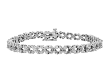 Diamond Bracelet, X Pattern, 14K White Gold, 3.77CTW