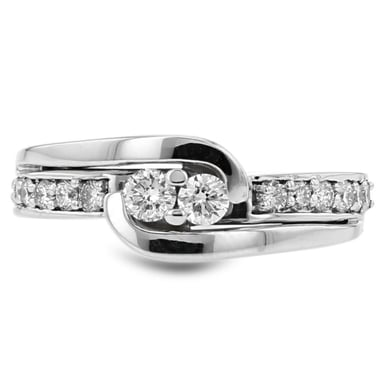Diamond Two Stone Bypass Channel Ring, 14K White Gold, .52CTW