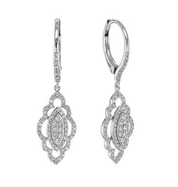Diamond Drop Earrings, Filigree, 14K White Gold, .53CTW