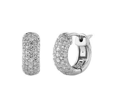 Diamond Pavé Huggie Hoop Earrings, 14K White Gold, .83CTW