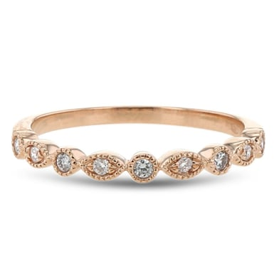 Diamond Milgrain Bubble Wedding Band, 14K Rose Gold, .12TDW