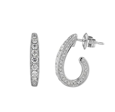 Diamond Channel J-Hoop Earrings, 14K White Gold, .76TDW