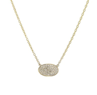 Diamond Accent Oval Disc Pendant Necklace, 14K Yellow Gold, .15CTW