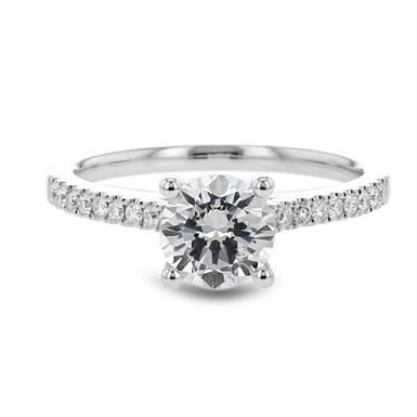 Diamond Semi Mount Engagement Ring Setting, Pave Shoulder, 14K Gold, .16CT