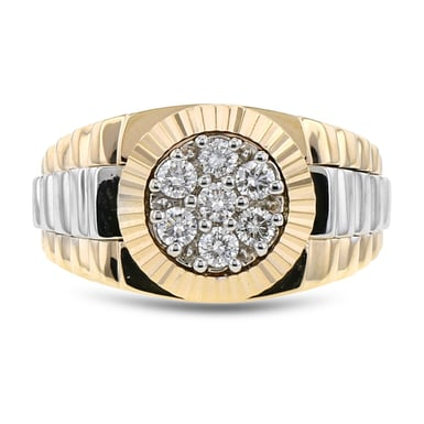 Men's Diamond Cluster Band, 14K Two-Tone Gold, .50TDW