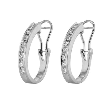 Diamond Channel J-Hoop Earrings, 14K White Gold, 1.0CT
