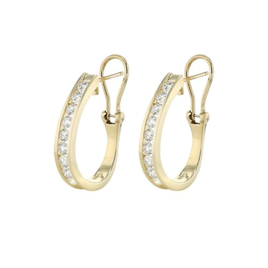 Diamond Channel J Hoop Earrings, 14K Yellow Gold, 1.50TDW