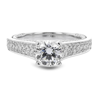 Diamond Engagement Ring Setting, Cathedral Semi-Mount, Pave Shoulders, Hidden Milgrain Ring, 14K White Gold, .51CTW