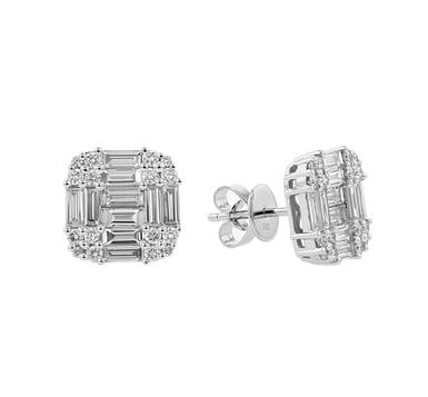 Diamond Cluster Stud Earrings, Baguette and Round, 14K White Gold, 1.67CTW