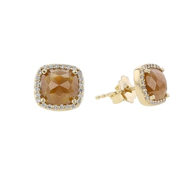 Peach Diamond Stud Earrings, Rose Cut, 14K Yellow Gold, 1.75CT, .13TDW