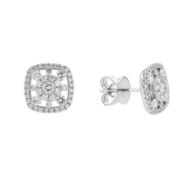 Diamond Burst Halo Stud Earrings, 14K White Gold, .77CTW