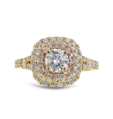 Diamond Double Halo Engagement Ring, Round, 14K Yellow and Rose Gold, .72CT, .61TDW