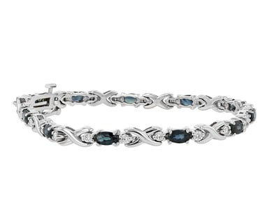 Blue Sapphire and Diamond 'X' Link Bracelet, 14K White Gold, .73TDW