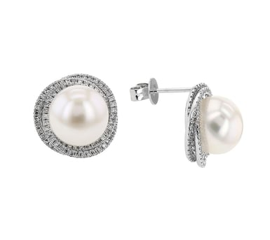 Pearl and Diamond Pave Swirl Halo Stud Earrings, 15MM Round, 14K White Gold, .56CTW