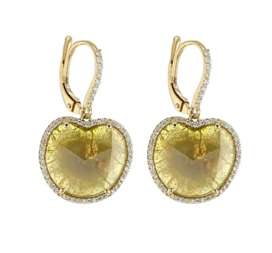 Yellow Diamond Slice Earrings, Heart-Shape, 18K Yellow Gold, 5.11CT, .32TDW