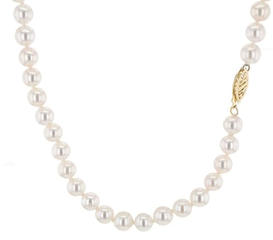 Honora Akoya Cultured Pearl Strand Necklace, 6-6.5MM, 14K Yellow Gold, 18 Inch