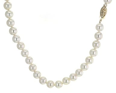 Pearl Strand Necklace, 7-7.5MM, 14K Yellow Gold, 18 Inch