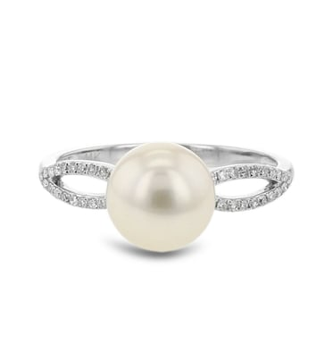 Pearl and Diamond Pave Accent Ring, 14K White Gold, .12CTW