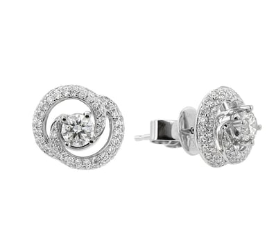 Diamond Double Swirl Stud Earrings, 18K White Gold, 1.29CTW