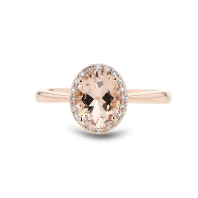 Pink Morganite and Diamond Halo Ring, Oval, 14K Rose Gold, .13TDW