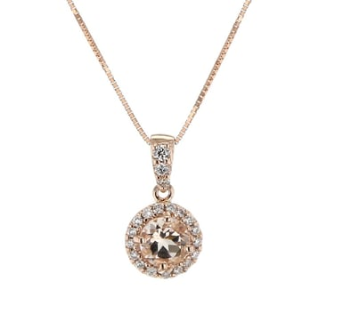 Pink Morganite and Diamond Halo Pendant Necklace, Round, 14K Rose Gold, .12DTW