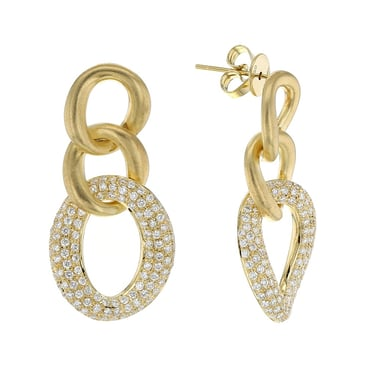 ESTATE Pave Diamond Triple Hoop Dangle Earrings, 18K Yellow Gold