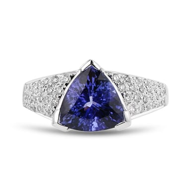 Tanzanite and Diamond Pavé Accent Ring, 14K White Gold, .41TDW