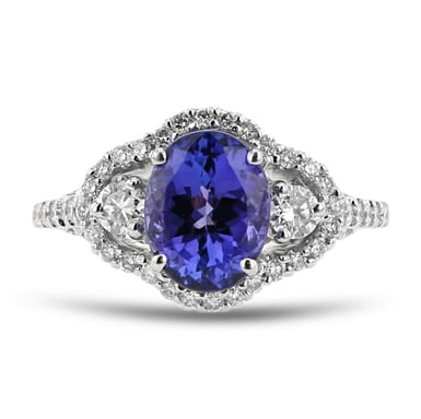 Tanzanite and Diamond Side Stone Halo Ring, 14K White Gold, .96TDW