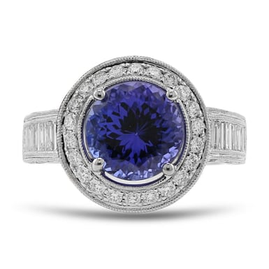 Tanzanite and Diamond Halo Ring, 14K White Gold, 1.71TDW