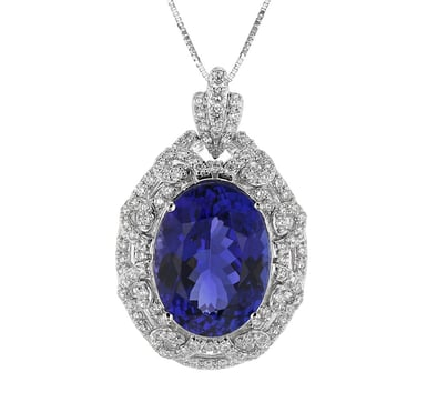 Tanzanite and Diamond Halo Oval Pendant Necklace, 18K White Gold, .91DTW